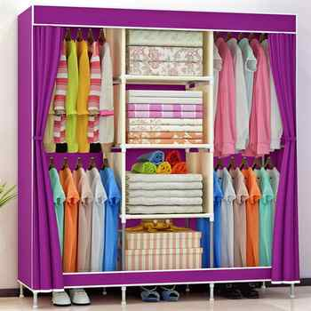 Practical Non-woven Fabric Wardrobe Foldable Closet Dustproof Storage Organizer for School Students Dormitory - DISCOUNT ITEM  40 OFF Furniture