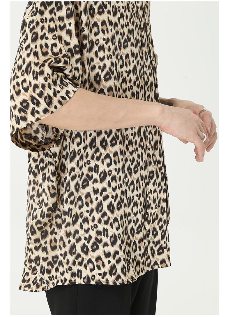 Men Summer Leopard Print Tie Short Sleeve Casual Loose Vintage Shirt Male Women Streetwear Hip Hop Couple Shirt