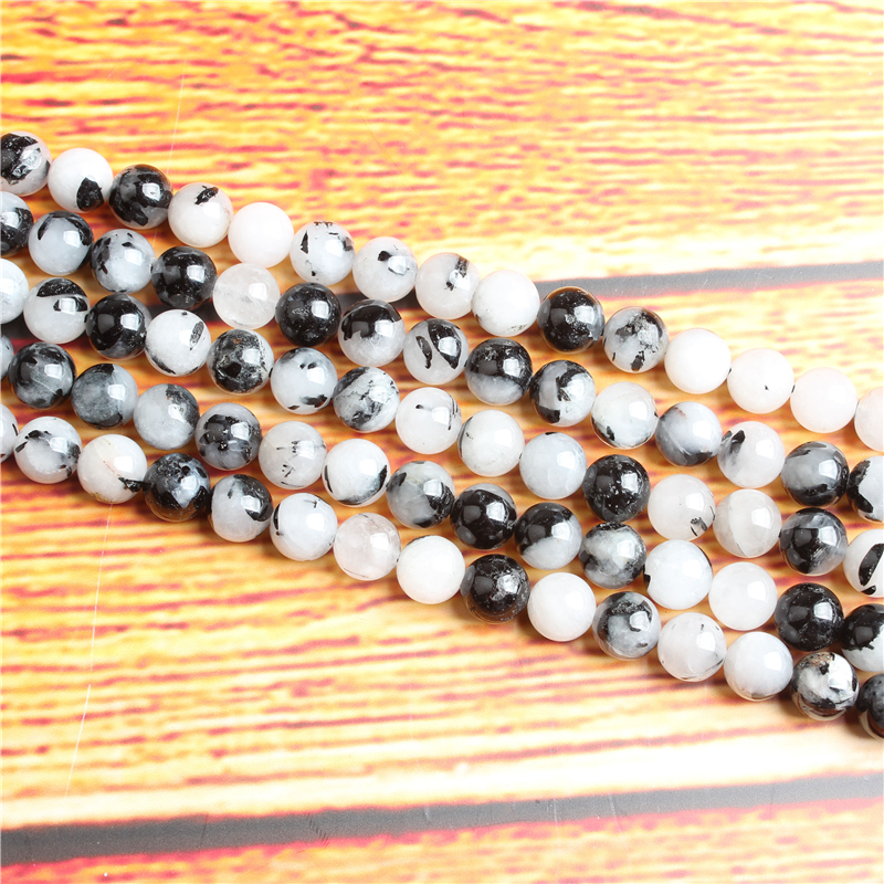 Black crystal Natural Stone Bead Round Loose Spaced Beads 15 Inch Strand 4/6/8 / 10mm For Jewelry Making DIY Bracelet