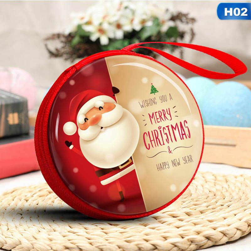Dessin animé en fer blanc noël boîte cadeau Santa bonhomme de neige Elk cadeau sac enfants cadeau de noël porte-monnaie clé casque sac de rangement décorations de noël