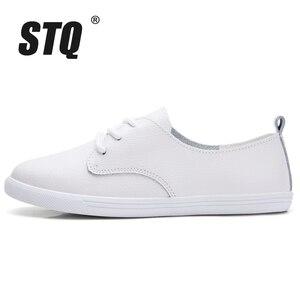 Image 2 - STQ סתיו נשים מוקסינים נעלי נשים אמיתי עור הנוודים נעלי ספורט נעליים להחליק על נשים חורף דירות הליכה נעלי 8833