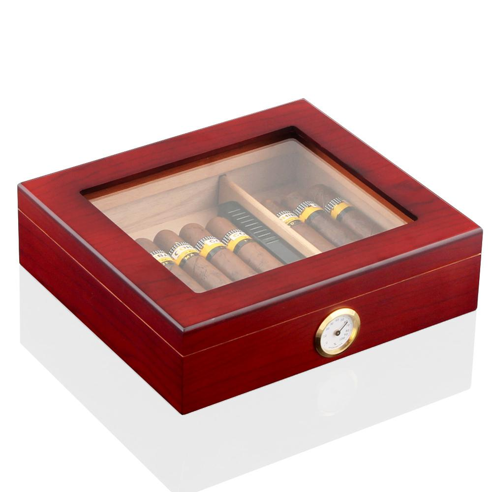 Cedar Wood Travel Cigar Humidor Box With Humidifier Hygrometer Humidor Cigar Box Case Glass Humidors Fit 20-30 COHIBA Cigars