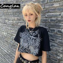 Gothic Style Crop Top Harajuku Graphic T Shirt for Women Ulzzang Korean Tshirt Summer Tee Croptop Goth Clothes Short Sleeve