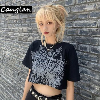 Gothic Style Crop Top Harajuku Graphic T Shirt for Women Ulzzang Korean Tshirt Summer Tee Croptop Goth Clothes Short Sleeve - discount item  25% OFF Tops & Tees