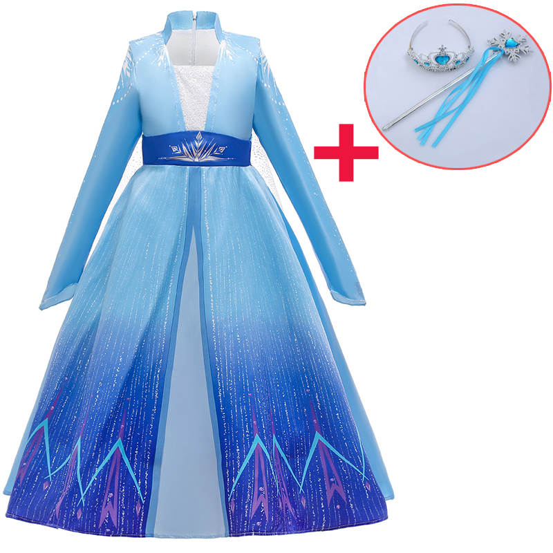 2020 Girls Summer Party Dress Snow Queen Frozen 2 Cosplay Costume Dress Girl Print Dresses Clothes Kids Girl Christmas Dress