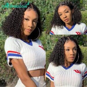 Asteria pelo 13x4 Bob corto peluca rizado Peluca de cabello humano para las mujeres negras Pre arrancado rizado peluca con malla frontal brasileño Remy pelucas de encaje