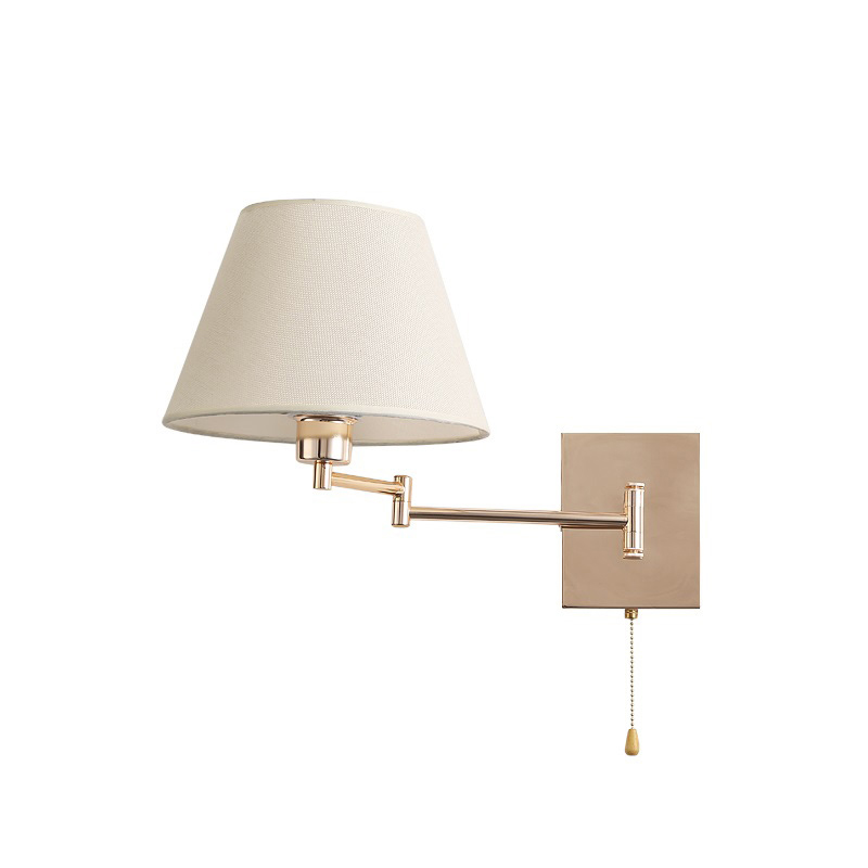 Modern Swing wall lamp flexible gold wall sconce retractable reading wall light with pull chain switch in bedroom bedside hotel
