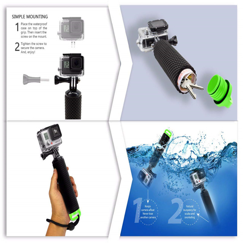 Waterproof Floating Hand Grip For Gopro Hero 8 7 6 5 Xiaomi Action Camera Kit with wrist strap Carabiner For Water Sport Camera-2