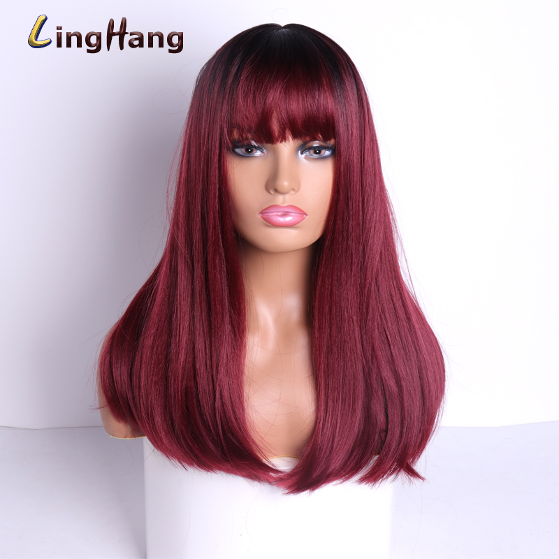 LISI HAIR 18 Inch Medium Wig Straight Hair With Bangs Blend High Temperature Resistant Synthetic Hair White / Black Women