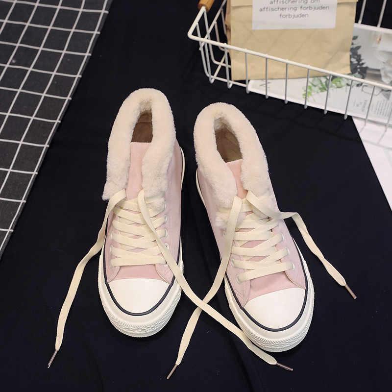 SıCAK Kadın Sneakers 2019 Çapraz Kayış Peluş vulkanize ayakkabı Kadın Kanvas platform ayakkabılar Kadın Kış rahat ayakkabılar Beyaz