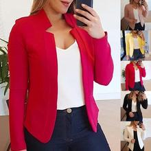 Fall Fashion Women Solid Color Long Sleeve Stand Collar Slims Fit Blazer Coat Womens Clothing Blazers Suits