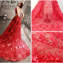 1yard  Organza polyester embroidery flower mesh lace fabric, high-end wedding dress fabric,diy