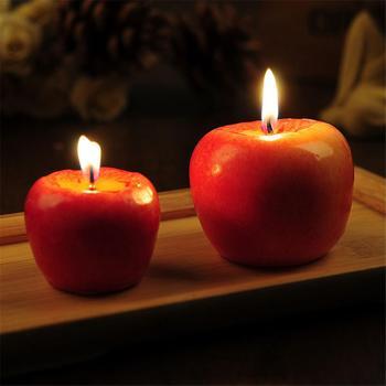 Czerwone jabłko w kształcie świece do aromaterapii lampa prezent ślubny dekoracja wnętrz walentynki świeca bożonarodzeniowa tanie i dobre opinie Kolorowe płomień Red Apple Shaped Aromatherapy Candles Stron Żel wosku Aromaterapia Świeca lampy fruit Wedding Valentine s Day Christmas