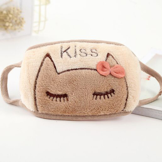 XEONGKVI Korean Cute Cartoon Cat Students Double Letters embroidery Masks Autumn Winter Warm Brand Riding Women Mouth-muffle 4