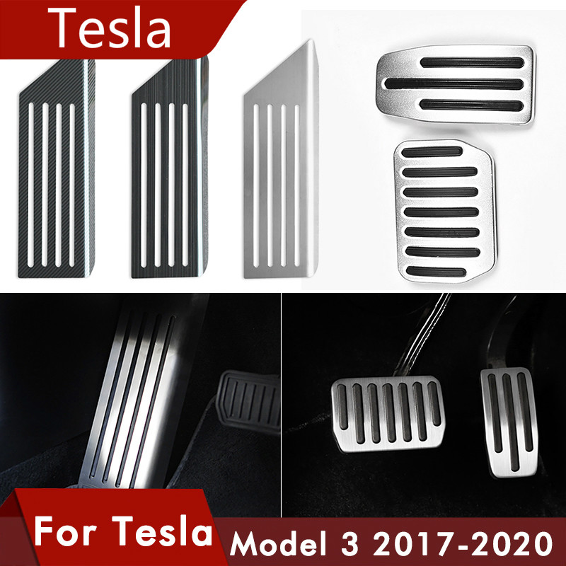 Model3 Car Foot Pedal Pads Covers For Tesla Model 3 Y Accessories Aluminum Alloy Accelerator Brake Rest Pedal Model Three 2020