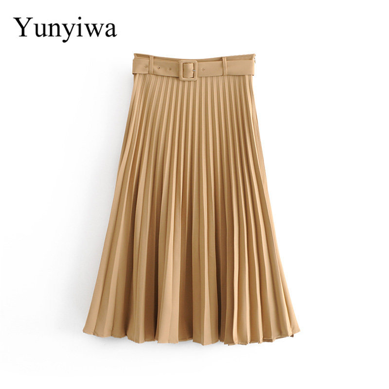 New Women Fashion Belt Solid Color Pleated Midi Skirt Faldas Mujer Ladies Side Zipper Vestidos Retro Casual Slim Skirts