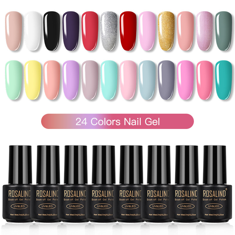 ROSALIND Gel Nail Polish Set Solid Color Nail Kit For Manicure Vernis Semi Permanent 7ML Gel Kit Top And Base All For Manicure 11