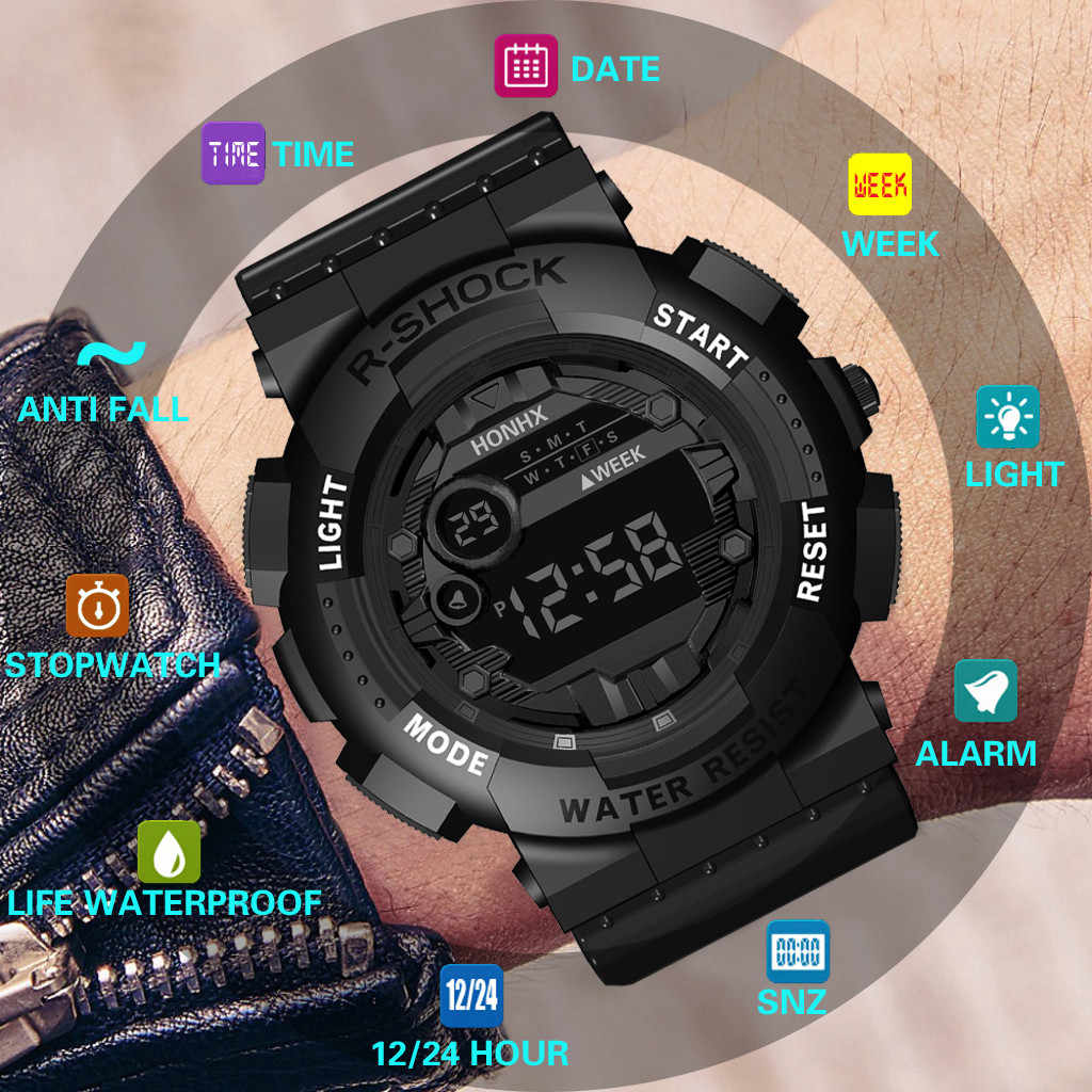 Relogio Digital Luxury Mens Digital LED Watch Tanggal Olahraga Pria Outdoor Elektronik Digital Sex Kol Saati Jam Tangan