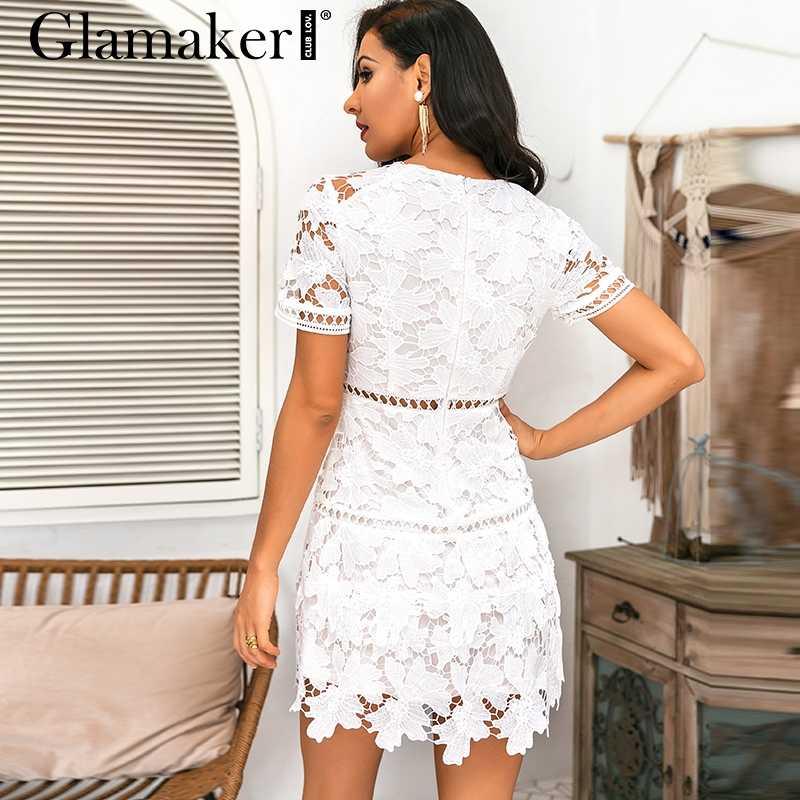 Glamaker סקסי לבן קצר חלול תחרה המפלגה שמלת נשים סתיו קו פרחוני שרוול שמלה אלגנטי מיני קצר שמלות עבור בנות