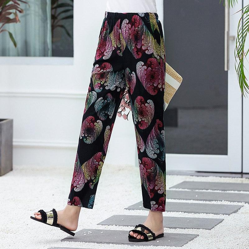 22 Colors 2020 Women Summer Casual Pencil Pants XL-5XL Plus Size High Waist Pants Printed Elastic Waist Middle Aged Women Pants 13