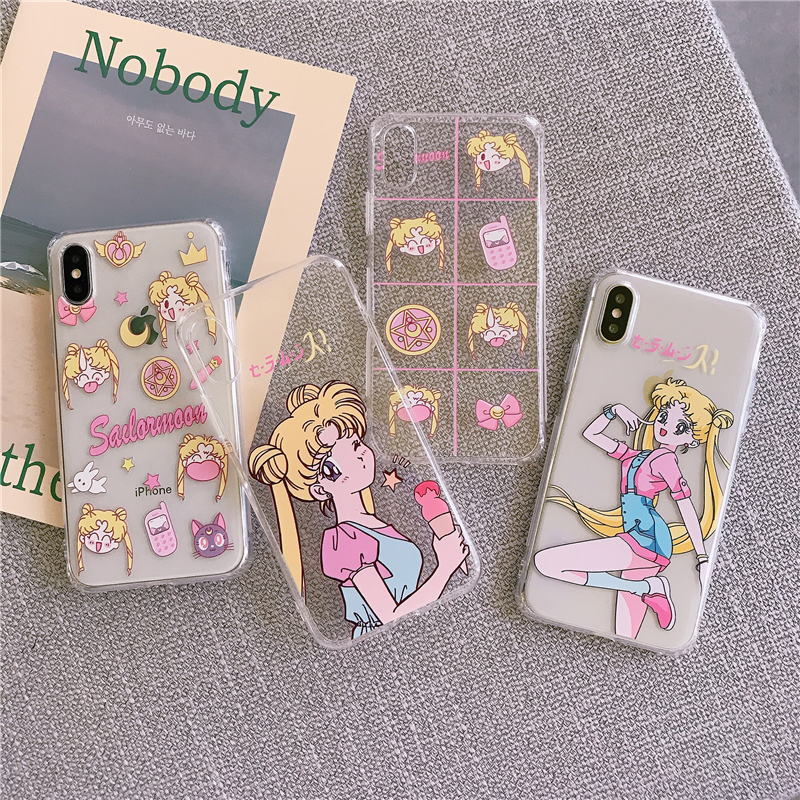 Sailor Moon mobile phone case for iPhone 6s 7 8 Plus XR XS MAX 11 PRO cute cartoon creative transparent silicone case