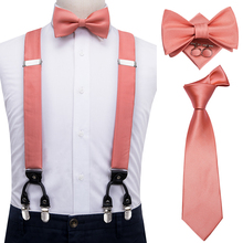 100% Silk Adult Men's Peach Coral Pink Suspender Set for Wedding Vintage Fashion Men's Leather 6 Clips Suspender and Bow Tie