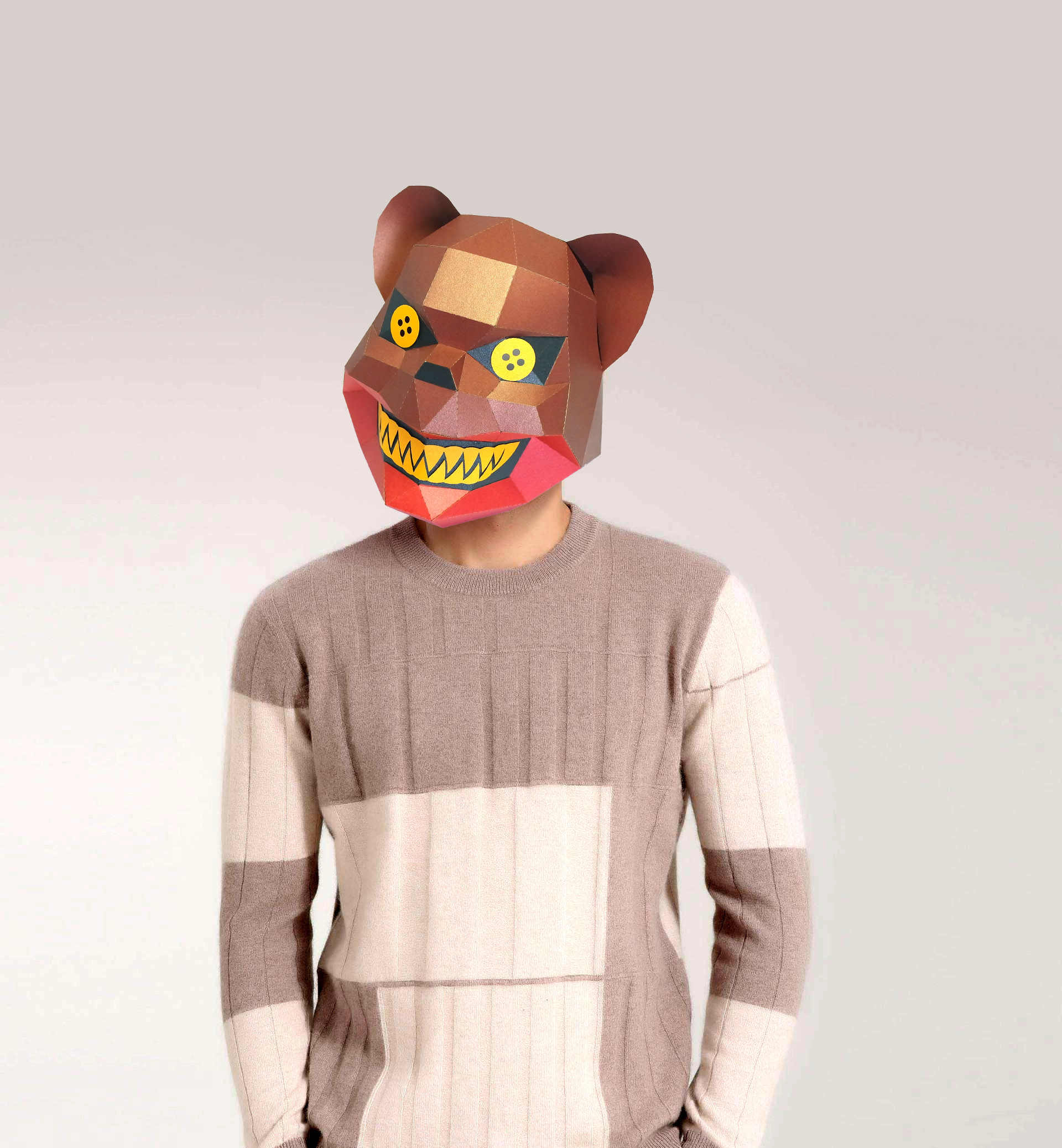 Paper Mask 3d Scary Bear Costume Cosplay DIY Paper Craft Model Mask Christmas Halloween Prom Party Gift