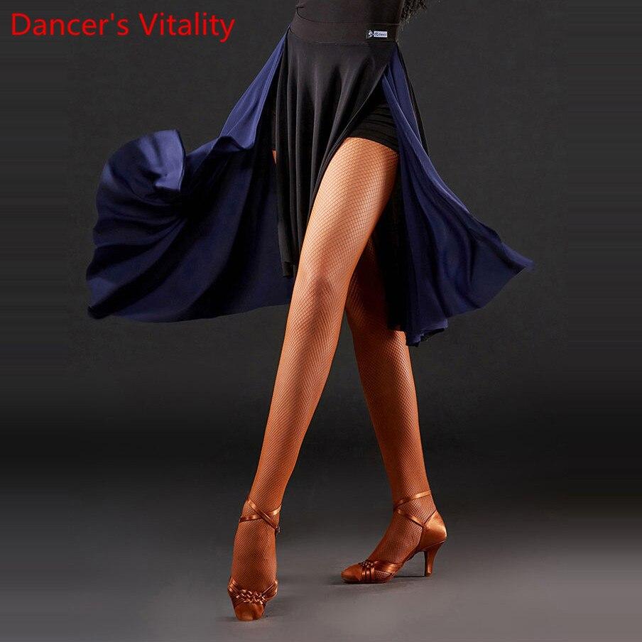 Latin Dance Practice Clothes Women Color Blocking Skirt Professional Rumba Samba Tango Cha Cha Salsa Dancing Training Outfits