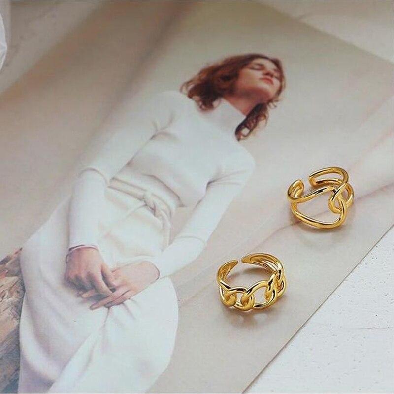 XIYANIKE 925 en argent Sterling mode à la mode exagérée chaîne croix anneau femme Cool Design Index doigt à la main bijoux cadeau 5