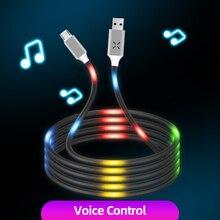 ANKNDO luminosa Control de voz Cable tipo USB C Micro USB Cable del cargador del teléfono de la iluminación del Cable del cargador del coche accesorios de teléfono