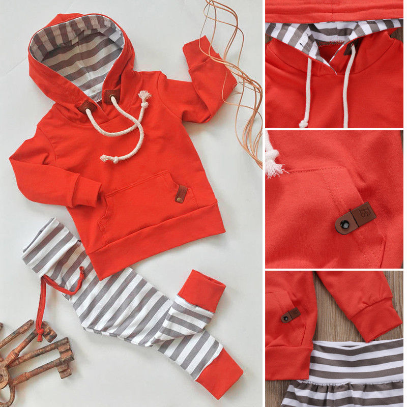 0-24M Autumn Warm Newborn Baby Boy 2pcs Set Newborn Kids Boys Tops Hoodie T-shirt+Shorts Pants Outfits Clothes Sets