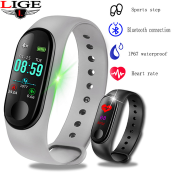 LIGE New Bluetooth Smart Bracelet Fitness Pedometer Sport Watch Men Women Activity tracker Heart Rate Blood Pressure Monitor