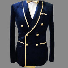 Heren Jas Blauw Fluwelen Bruidegom Wear Mannen Wedding Suits Smoking Blazer Kostuum Homme Outfit Brede Sjaal Revers Masculino(China)