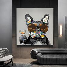 Граффити Современная собака с солнцезащитными очками холст картины