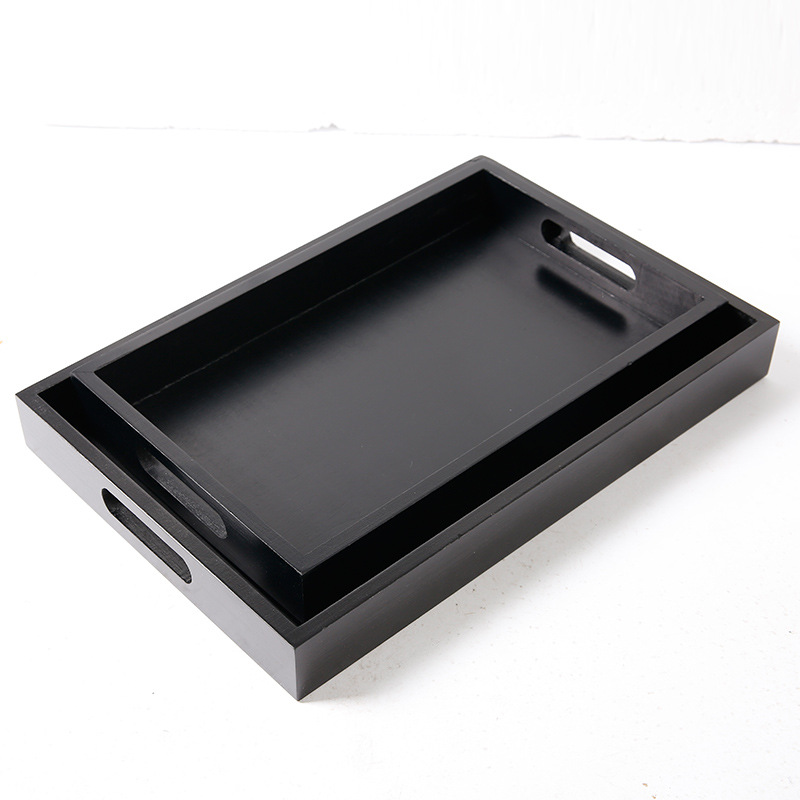 Solid Wood Black Tray Rectangle Hotel Black Paint Pine Tea Tray Restaurant Wooden Fruit Wooden Tray