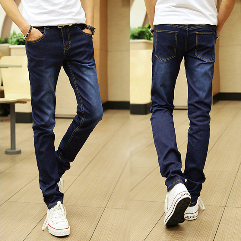 Autumn Men Elasticity Jeans Slim Fit Pants Korean-style Thin MEN'S Jeans Men'S Wear