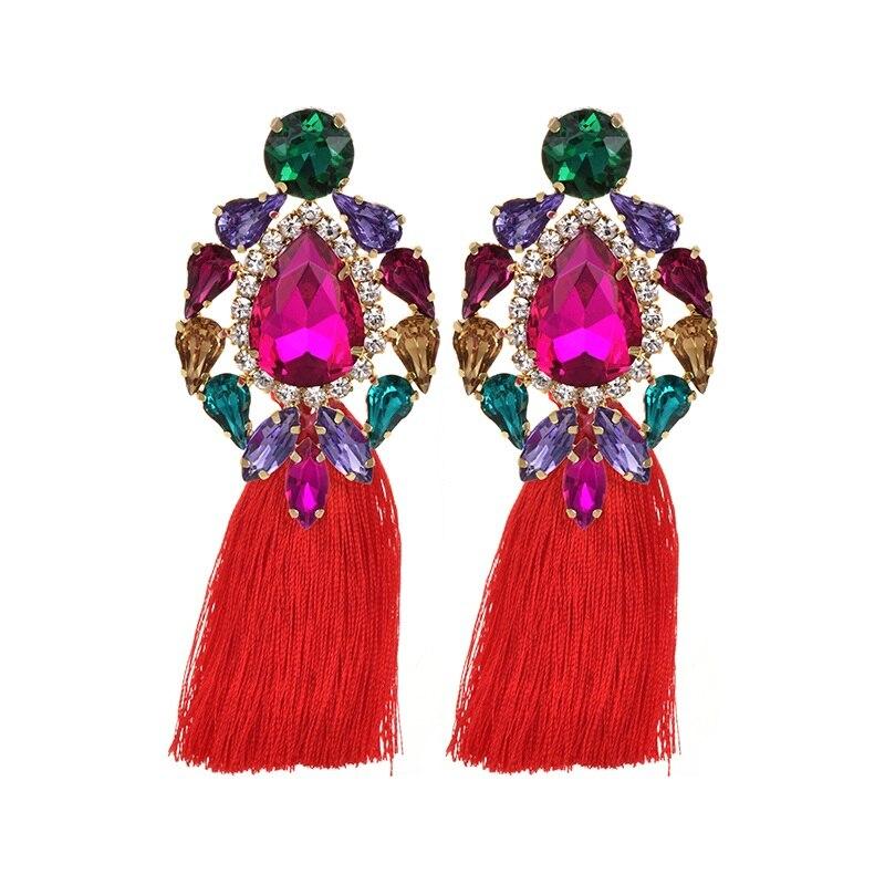 Flower Big Crystal Earrings for Jewelry classic Luxurious color Bling Crystal long Tassel drop Earrings For Women Wedding 2019
