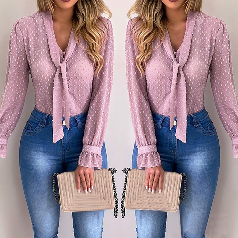 2020 New Spring Women Chiffon Blouses Shirt  Tops Pink V-neck Casual Office Long Sleeve Shirt Blusas Mujer De Moda