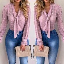 2020 New Spring Women Chiffon Blouses Shirt Tops Pink V-neck Casual Office Long Sleeve Shirt blusas mujer de moda
