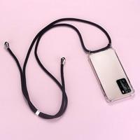 高級シリコーン電話ケースhuawei社P40 P30 P20 P10 lite名誉 30 20 9Xかわいい超薄型ネックレスロープカバーcoque