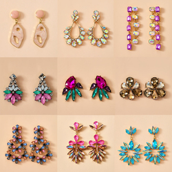 Tocona Colorful Shiny Rhinestone Flowers Drop Dangle Earrings for Women Long Hollow Geometric Leaf Personality Jewelry Gift