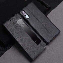 جلد طبيعي حافظة لهاتف Huawei P20 برو حالة الغطاء المغناطيسي كوكه لهواوي P20 P10 P10Plus الوجه حالة Fundas نافذة الرؤية Etui