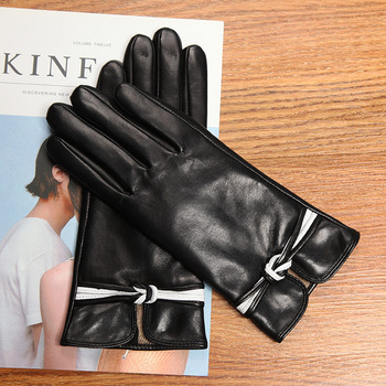 2020 New Genuine Leather Women's Gloves Autumn Winter Thermal Wool Knitted Lined Sheepskin Gloves Female Black Wine Red DQ0131 2020 new men genuine leather gloves male fashion trend autumn winter plush lined black suede sheepskin touch gloves 9006