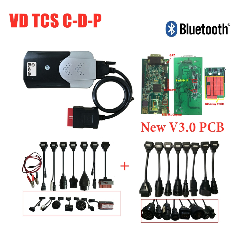New Vci 2017R1 Activate Free with Bluetooth v3 0 Pcb Scanner for Delphis Obd obd2 Car Diagnostic Scan Tool  8pc Car Truck Cables