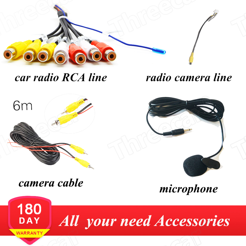 Android Radio Car Accessories Wire Wiring Harness Adapter Connector AV RCA Cable 6M & Power Cable Wires For Rear View Camera