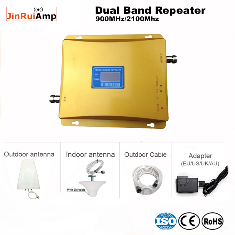 LCD Display GSM Repeater 900 2100,GSM 3G UMTS  Dual Band Ampifier 70dB GSM WCDMA Cellular Amplifier Cell Phone Signal Booster