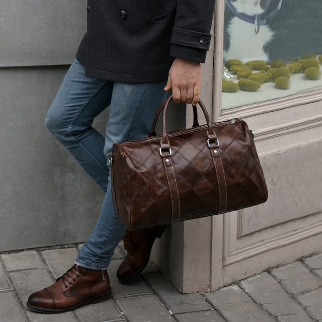 WESTAL leather duffle bag men's travel bag leather vintage weekend bag men's travel bags genuine leather luggage/overnight tote 5