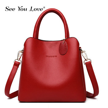 Fashion Women Handbag Luxury Brand Solid Soft Genuine Leather High Quality Tote Female Shoulder Bags Crossbody Messenger Bags