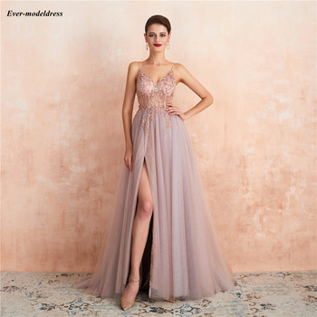 Long Bridesmaid Dresses 2020 Spaghetti Strap Beaded Sheer Neck Open Back Split Chiffon Wedding Guest Gowns Maid of Honor Dress plus size royal blue bridemaid dresses sheer o neck lace applique high side split wedding guest dress maid of honor gowns