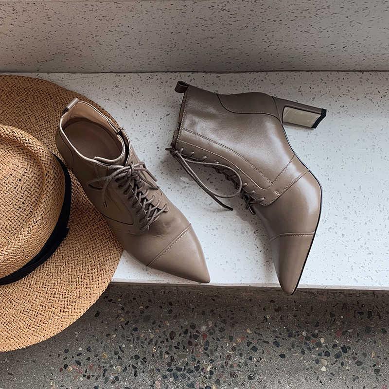INS NÓNG Nữ mắt cá chân Giày da tự nhiên trên mùa thu và mùa đông mũi Nhọn gót dày cổ điển Thời Trang Châu Âu nữ giày nữ